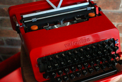 A red Valentine typewriter from Toronto Tyewriters.