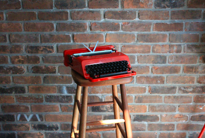 A red Valentine typewriter from Toronto Typewriters.